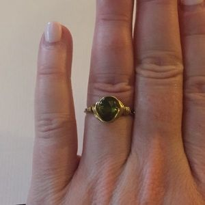 Gold wire and peridot ring